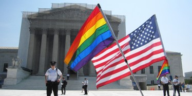 [UNVERIFIED CONTENT] Gay-rights activists gathered outside of the Supreme Court on the morning when the Court handed down its decision to overturn the Defense of Marriage Act.